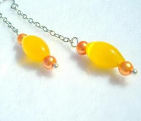 Opal Earrings Canary Yellow Long
