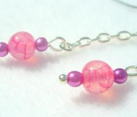Dragon Vein Agate Earrings Pink Fuschia