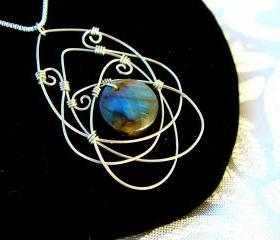Wire Wrapped Celtic Pendant Necklace Labradorite Sterling Silver