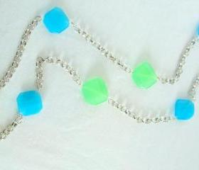 Silver Chunky Necklace Sea Glass Charm Chain