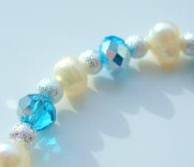 Pearl Bracelet Aqua Swarovski Stardust Silver 