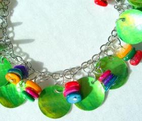 Summer Anklet Bright Bracelet Bright Green Tangerine Fuschia Violet