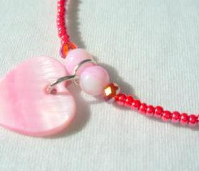 Pink Heart Anklet Shell Charm Swarovski Crystal