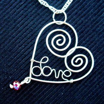 Wire Wrapped Heart Pendant Love Necklace